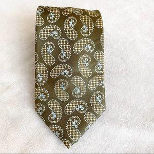 Ben Sherman Paisley Print Silk Tie Olive Green